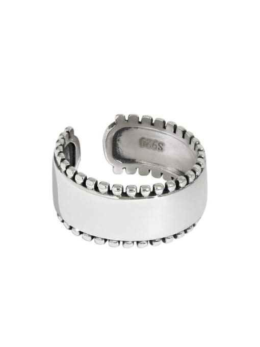 Retro silver [15 adjustable] 925 Sterling Silver Geometric Vintage Band Ring